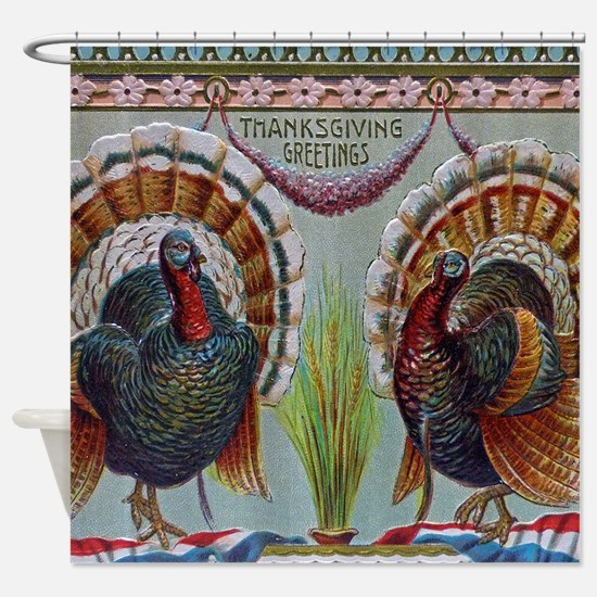 Thanksgiving Greetings 1906 Shower Curtain
