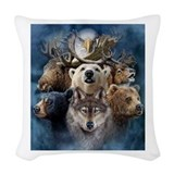 Native wolf Woven Pillows