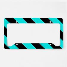Turquoise Blue & Black Stripe License Plate Holder