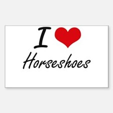 I Love Horseshoes artistic Design Decal