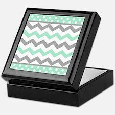 Mint and Gray Chevron Polka Dots Keepsake Box