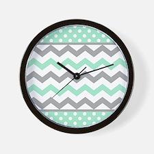 Mint and Gray Chevron Polka Dots Wall Clock