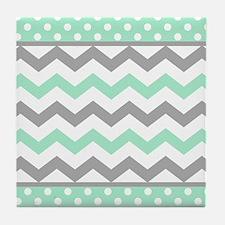 Mint and Gray Chevron Polka Dots Tile Coaster