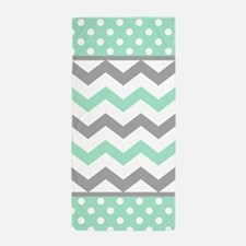 Mint and Gray Chevron Polka Dots Beach Towel