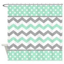 Mint And Gray Chevron Polka Dots Shower Curtain For