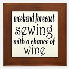 Sewing and Wine Framed Tile