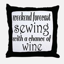 Sewing and Wine Throw Pillow