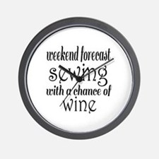 Sewing and Wine Wall Clock