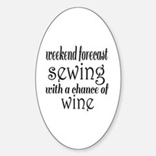 Sewing and Wine Sticker (Oval)