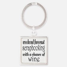 Scrapbooking and Wine Square Keychain
