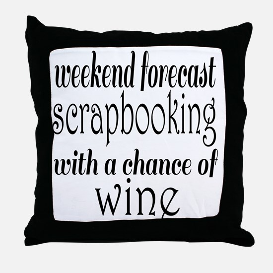 Scrapbooking and Wine Throw Pillow