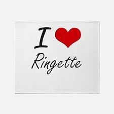 I Love Ringette artistic Design Throw Blanket