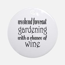 Gardening and Wine Round Ornament