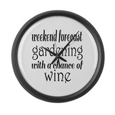 Gardening and Wine Large Wall Clock
