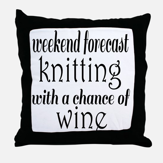 Knitting and Wine Throw Pillow