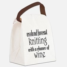 Knitting and Wine Canvas Lunch Bag