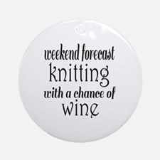 Knitting and Wine Round Ornament
