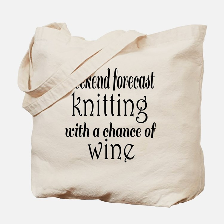 Knitting and Wine Tote Bag