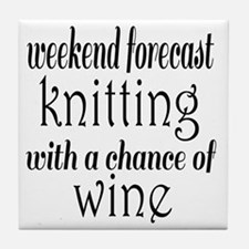 Knitting and Wine Tile Coaster
