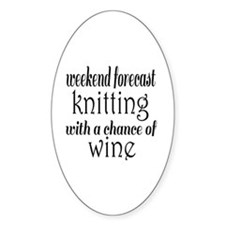 Knitting and Wine Decal