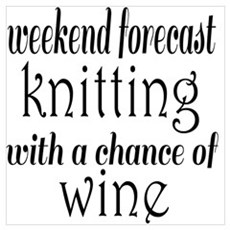 Knitting and Wine Poster