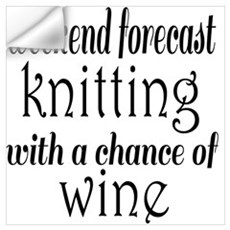 Knitting and Wine Wall Decal