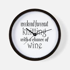 Knitting and Wine Wall Clock