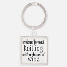 Knitting and Wine Square Keychain