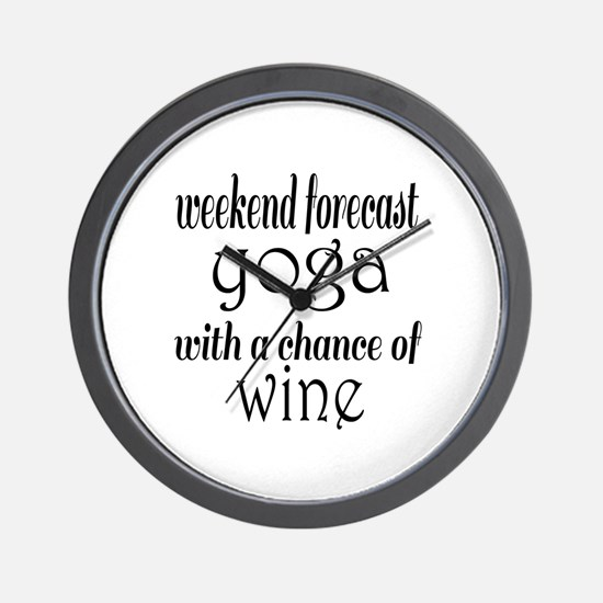 Yoga and Wine Wall Clock