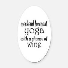 Yoga and Wine Oval Car Magnet