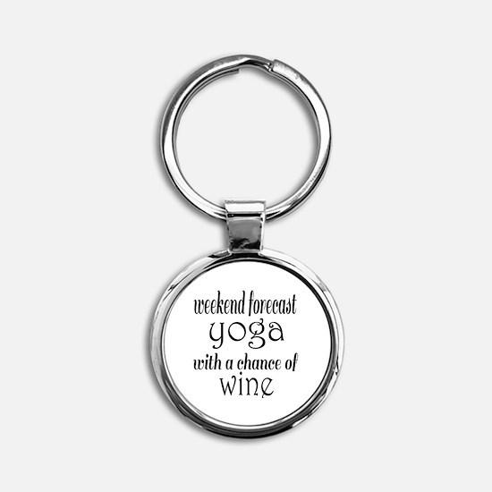 Yoga and Wine Round Keychain