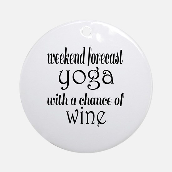 Yoga and Wine Round Ornament