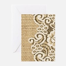 vintage rustic burlap and lace Greeting Cards