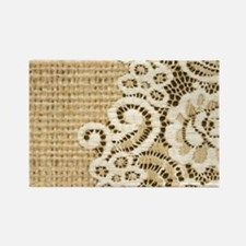 vintage rustic burlap and lace Magnets