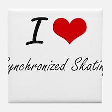 I Love Synchronized Skating artistic Tile Coaster