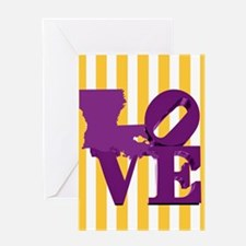Louisiana Love Purple and Gold Greeting Cards