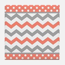 Coral and Gray Chevron Polka Dots Tile Coaster