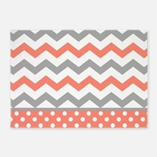 Coral and Gray Chevron Polka Dots 5'x7'Area Rug