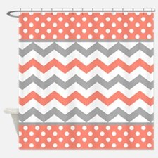 Coral and Gray Chevron Polka Dots Shower Curtain