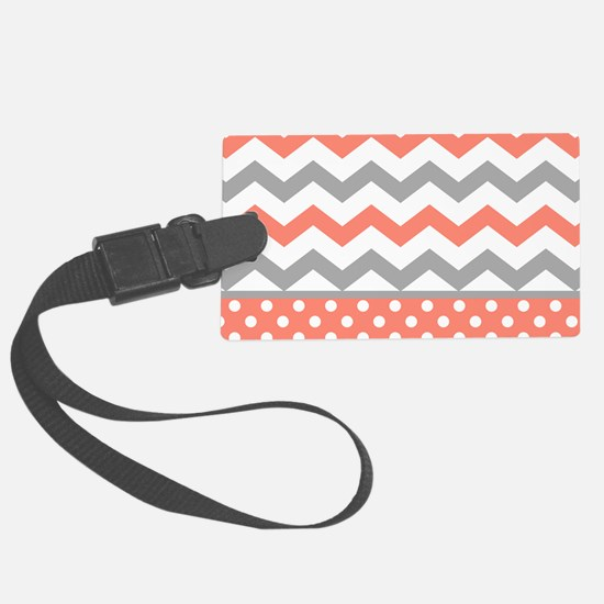 Coral and Gray Chevron Polka Dots Luggage Tag