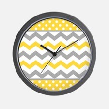 Yellow and Gray Chevron Polka Dots Wall Clock