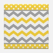 Yellow and Gray Chevron Polka Dots Tile Coaster