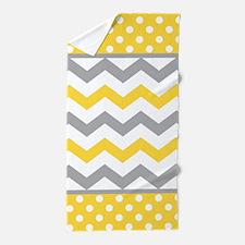 Yellow and Gray Chevron Polka Dots Beach Towel