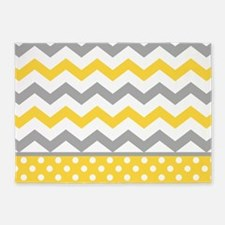 Yellow and Gray Chevron Polka Dots 5'x7'Area Rug