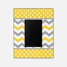 Yellow and Gray Chevron Polka Dots Picture Frame