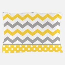 Yellow and Gray Chevron Polka Dots Pillow Case