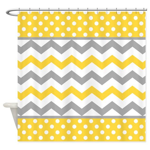 Yellow and Gray Chevron Polka Dots Shower Curtain by printcreekstudio