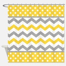 Yellow and Gray Chevron Polka Dots Shower Curtain