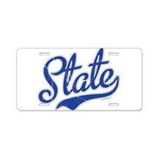 State Script VINTAGE Aluminum License Plate
