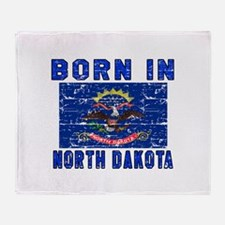 Born in North Dakota Throw Blanket